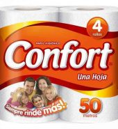 Papel higiénico Confort, 4 rollos
